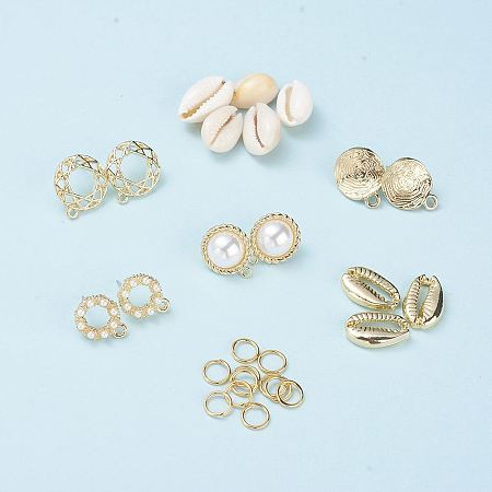 NBEADS DIY Earring Making, with Cowrie Shell Beads, Alloy Pendants, Brass Jump Rings and Alloy Stud Earring Findings, Light Gold, 16~18x12~13x5~7mm, hole: 2mm