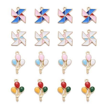 ARRICRAFT 40Pcs 4 Style Alloy Enamel Pendants, Balloon & Windmill, Light Gold, 10pcs/Style