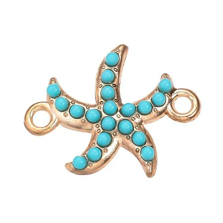 NBEADS 10PCS Turquoise Alloy Starfish Resin Jewelry Links Jewelry Making Findings