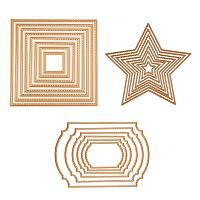 BENECREAT 3 Sets Gold Cutting Dies Cut Metal Scrapbooking Stencils Nesting Die for DIY Embossing Photo Album Decorative DIY Paper Cards Making - Square, Rectangle, Star