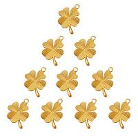 SUNNYCLUE 1 Box 10pcs Gold Plated Four Leaf Clover Lucky Connector Charms Pendants 34x23mm for DIY Bracelet Necklace Jewelry Making Findings(Matte Golden)