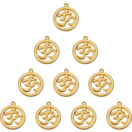 SUNNYCLUE 1 Box 10pcs Real Gold Plated Alloy Flat Round Yoga OM OHM Charms Pendants Chakra Sanskrit Beads Jewelry Findings Accessory 29x25.5mm for DIY Jewelry Making Craft, Matte Golden