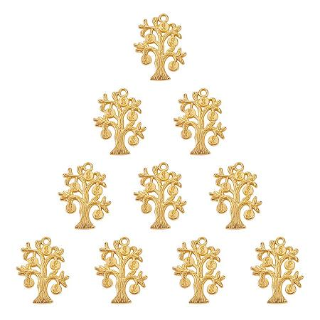 SUNNYCLUE 1 Box 10pcs Real Gold Plated Alloy Money Tree of Life Charms Pendants 29x22mm for DIY Jewelry Making Craft Findings, Matte Golden