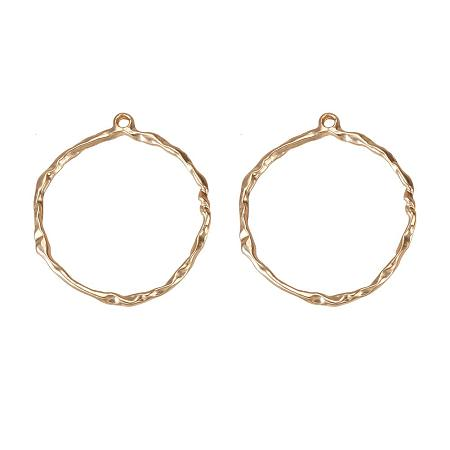 SUNNYCLUE 1 Box 2pcs Matte Golden Alloy Big Circle Charm Pendants Connector 81x72mm for DIY Jewelry Making Findings, Lead Free & Cadmium Free & Nickel Free