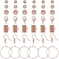 NBEADS 240 Pcs Rose Gold DIY Jewelry Making Sets Kits with Clasps & Beads & Ribbon Ends & Bead Caps & Earring Hooks & Jump Rings Earrings Findings for DIY Craft Jewelry Making