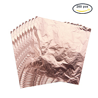 PandaHall Elite 200 Sheets Imitation Rose Gold Leaf Foil Paper for Arts, Gilding Crafting, Decoration DIY, 5.5 by 5.5 Inches