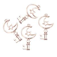 PandaHall Elite 10 Pcs Alloy Magic Wand Moon Key Open Bezel Charm Pressed Flower Blank Frame Hollow Mold Pendants 53x25x3mm for UV Resin Crafts Jewelry Making Rose Gold