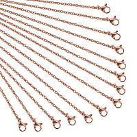 NBEADS 10 Strands 17.7 Inch Rose Gold Plated Cross Chain Necklace Link Cable Chain Charms with Lobster Clasps for Jewelry Making