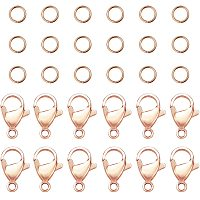 PandaHall Elite 60 pcs 5mm 304 Stainless Steel Jump Rings with 30 pcs Lobster Claw Clasps for Earring Bracelet Necklace Pendants Jewelry DIY Craft Making, Rose Gold