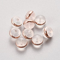 Silicone Ear Nuts, Earring Backs, with Stainless Steel, Rose Gold, 5.5x4mm, Hole: 0.5mm