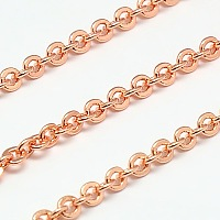 ARRICRAFT Electroplate Brass Cable Chains, Soldered, Flat Oval, Rose Gold, 3x2.5x0.5mm