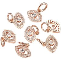 Arricraft 10 Pcs Cubic Zirconia Brass Evil Eye Pendant Charms for Jewelry Making, Rose Gold