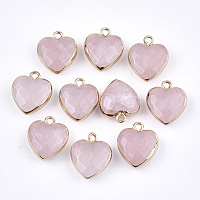 Electroplate Natural Rose Quartz Pendants, with Iron Findings, Faceted, Heart, Golden, 16~17x14~15x6~7mm, Hole: 1.8mm