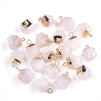 Electroplate Natural Rose Quartz Charms, with Iron Findings, Faceted, Golden, 11~12x8x8mm, Hole: 1.5mm