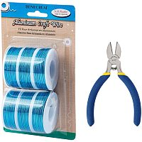 BENECREAT 6 Rolls 18 Gauge Aluminum Craft Wire with Side Cutting Plier, 450 Feet Jewelry Beading Wire Bendable Metal Wire for Jewelry Making Craft, Blue