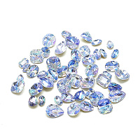 DIY Pointed Back K9 Glass Rhinestone Cabochons, Back Plated, Faceted, Mixed Shapes, Sapphire, 5~11x3~8x2~4mm; about 20pcs/bag
