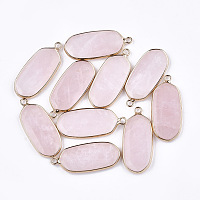 NBEADS Natural Rose Quartz Pendants, with Brass Findings, Oval, Golden, 36~37x15~16x3~4mm, Hole: 2mm