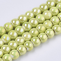 Electroplate Porcelain Beads, Handmade Bright Glazed Porcelain, AB Color Plated, Round, Yellow Green, 7x6mm, Hole: 2.5mm, 26.38 inches~27.16 inches(67~69cm); about 120~121pcs/Strand