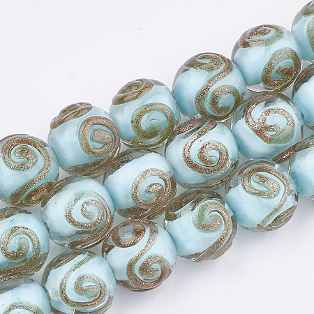 NBEADS Handmade Gold Sand Lampwork Beads, Round, PaleTurquoise, 11.5~12.5x11~12mm, Hole: 1.5~2mm