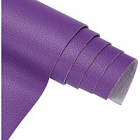 """BENECREAT 13""""x 55""""(33cm x 140cm) Solid Faux Litchi Pattern Leather Waterproof Synthetic Leather for Dressing Sewing Crafting - Purple, 0.5mm Thick"""
