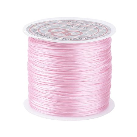 PandaHall Elite 1 Roll Pink 0.8mm Elastic Stretch Polyester Threads Beading String Cord 60m per Roll for Jewelry Making Bracelets Necklace