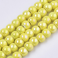 Electroplate Porcelain Beads, Handmade Bright Glazed Porcelain, AB Color Plated, Round, Yellow, 7x6mm, Hole: 2.5mm, 26.38 inches~27.16 inches(67~69cm); about 120~121pcs/Strand