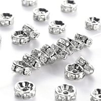 NBEADS 100pcs Grade A Brass Rhinestone Spacer Beads, Platinum Metal Color, Nickel Free, Crystal