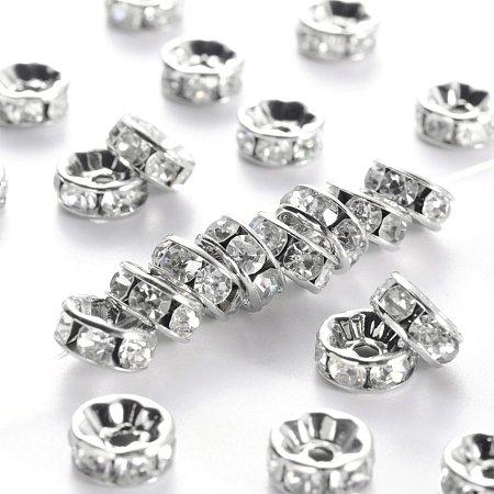 NBEADS 100pcs Grade A Brass Rhinestone Spacer Beads, Platinum Metal Color, Nickel Free, Crystal