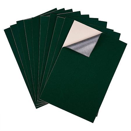 BENECREAT 20PCS Velvet (DarkGreen) Fabric Sticky Back Adhesive Back Sheets, A4 Sheet (8.3