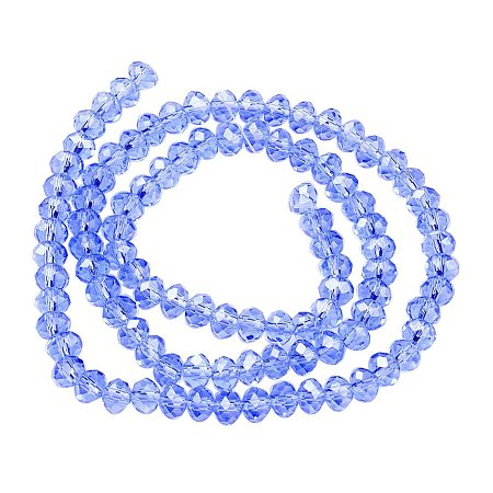 NBEADS 10 Strands Pearl Luster Plated Crystal Suncatcher Faceted Abacus LightBlue Glass Beads Strands with 6x4mm,Hole: 1mm,about 100pcs/strand