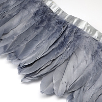 Fashion Goose Feather Cloth Strand Costume Accessories, Gainsboro, 100~180x38~62mm; about 2m/bag