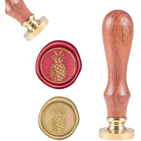 CRASPIRE Pineapple Pattern Wax Seal Stamp Vintage Sealing Wax Stamps with 25mm Gold Brass Seal Wooden Handle for Envelopes Invitations Embellishment Bottle Decoration Gift Wrapping