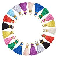 ARRICRAFT 100 Pcs Nylon Cord Tassel Pendant Decoration with Brass Gold Tone Open Jump Ring 26.5x5mm for Jewelry Making Mixed Color