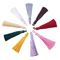 NBEADS 20 Pcs Polyester Tassel Pendant Decoration, Mixed Color, 87~89x8.5~9mm, Hole: 4x6mm
