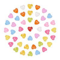 NBEADS 1000 Pcs Acrylic Heart Buttons, Plastic Sewing Buttons for Costume Design, 2-Hole, Dyed, Mixed Color, 12x12x3mm, Hole: 1mm