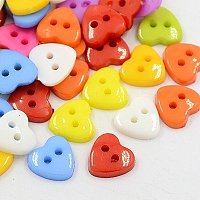 NBEADS 400 Pcs Acrylic Heart Buttons, Plastic Sewing Buttons for Costume Design, 2-Hole, Dyed, Mixed Color, 14x14x3mm, Hole: 1mm