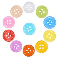 NBEADS 400 Pcs Acrylic Sewing Buttons, Plastic Shirt Buttons for Costume Design, 4-Hole, Dyed, Flat Round, Mixed Color, 17x2mm, Hole: 1mm