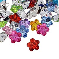 NBEADS 288 Pcs Acrylic Rhinestone Buttons, 1-Hole, Faceted, Flower, Mixed Color, 12x12x6mm, Hole: 1mm