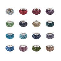 NBEADS 50pcs Mixed Color Pave Crystal Resin Beads, Rhinestone Large Hole European Charms Beads fit Bracelet Jewelry Making