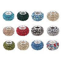 ARRICRAFT 50 PCS 15x10mm Grade A Rhinestone European Beads Large Hole Resin Beads with Silver Brass Core, Mixed Color