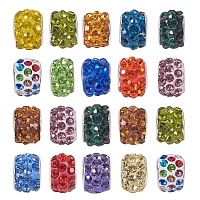 NBEADS 100 Pcs Random Mixed Color Crystal Charms Beads, Rhinestone Large Hole Spacer Beads Fit European Bracelet Snake Chain Jewelry Making