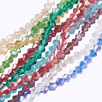 NBEADS 10 Strands AB Color Plated Faceted Bicone Mixed Color Glass Beads Strands with 4x4mm,Hole: 1mm,about 118pcs/strand