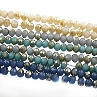 NBEADS 10 Strands Half Plated Imitation Jade Faceted Abacus Mixed Color Glass Bead Strands with 6x4mm,Hole: 1.5mm,about 100pcs/strand