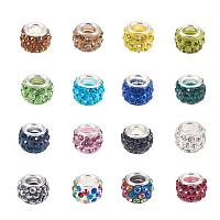 NBEADS 100pcs Mixed Color Pave Crystal Clay Beads, Rhinestone Large Hole European Charms Beads fit Bracelet Jewelry Making