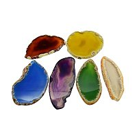 NBEADS 1000g Natural Agate Slices Big Pendants, Dyed, Mixed Color, 50~110x27~60x5~10mm, Hole: 2mm; about 20~40pcs/kg