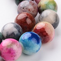 NBEADS Natural White Jade Bead Strands, Dyed, Round, Colorful, 12mm, Hole: 1mm; about 33pcs/strand, 16""