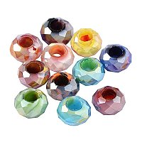 ARRICRAFT 100PCS 14x8mm Glass European Beads Without Core Large Hole Beads, Mixed Color
