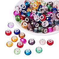 ARRICRAFT 100PCS 14x8mm Glass European Beads with Plating Silver Double Cores Large Hole Beads, Hole: 5mm