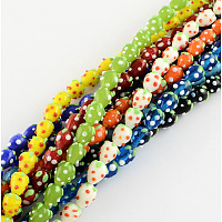 Nbeads Handmade Lampwork 3D Strawberry Beads, Mixed Color, 12~13x10mm, Hole: 2mm