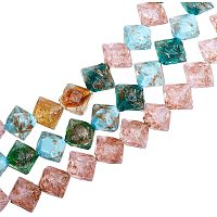 Pandahall Elite About 100 Pcs Goldsand Lampwork Glass Beads Rhombus Spacer Bead for Jewelry Making, Assorted Color